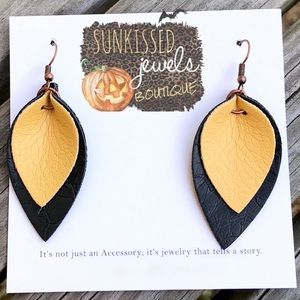 SALE ✨NEW✨Black & Gold Leather Earrings!